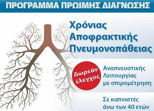 Δωρεάν έλεγχος Αναπνευστικής Λειτουργίας με σπιρομέτρηση σε καπνιστές άνω των 40 ετών